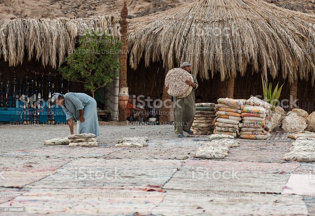 Unidentified bedouins in the old part of Hurghada stock photo