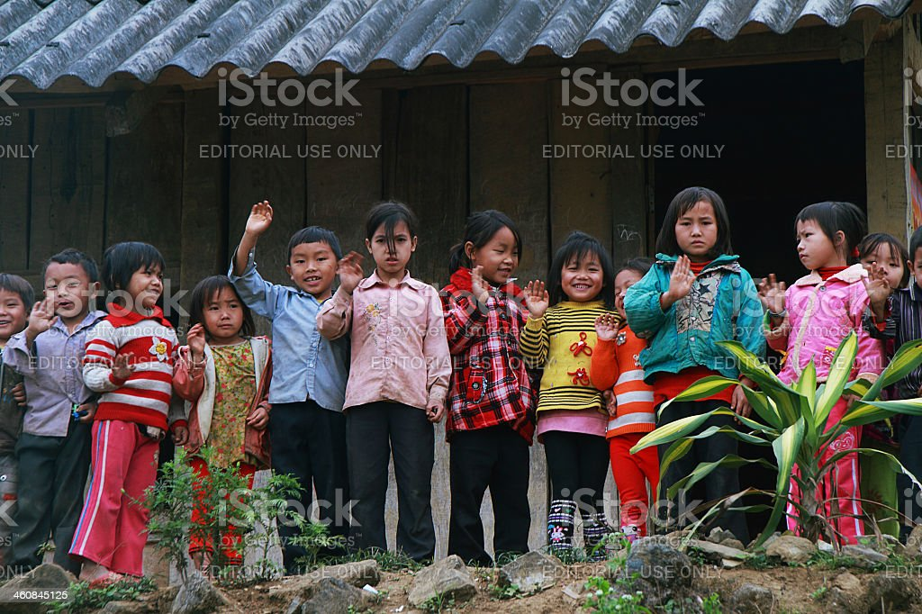 Unidentified children in a shool stock photo