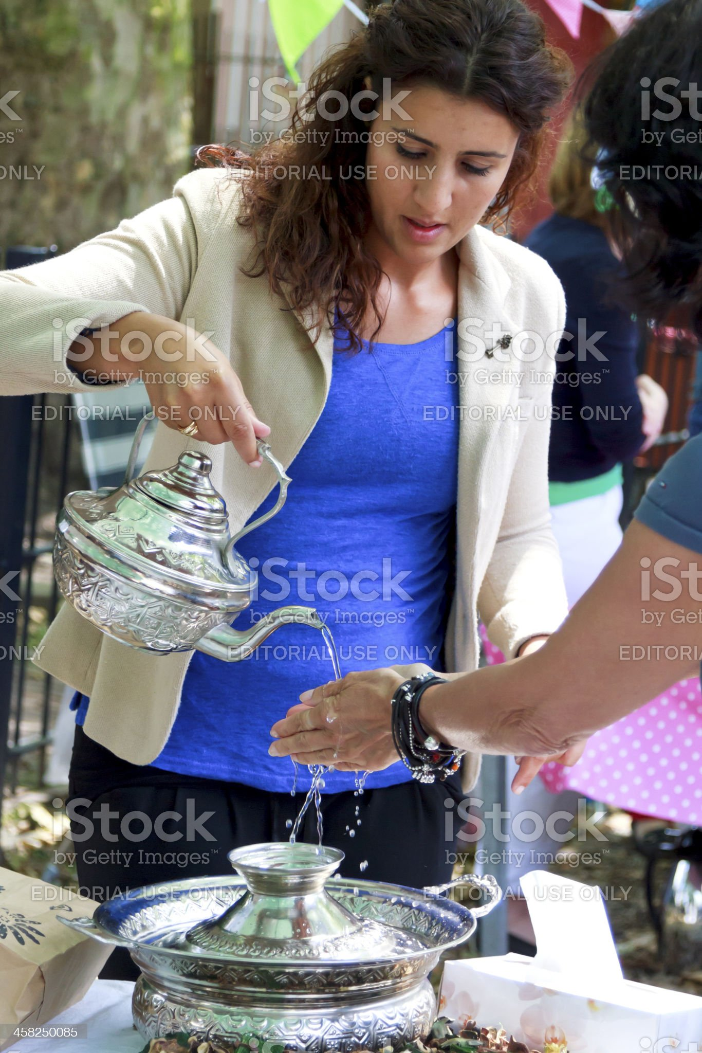 Unidentified customer testing a product royalty-free stock photo