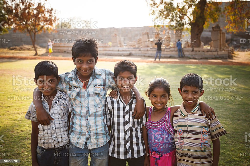 Unidentified Indian children smiling on excursion stock photo