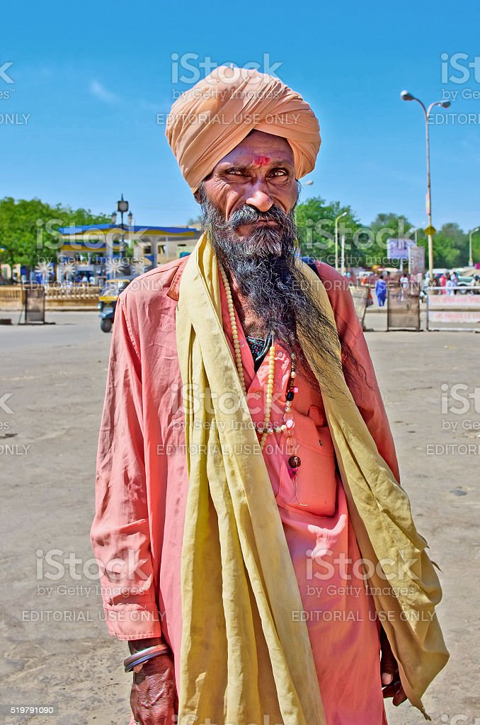 Unidentified Indian sadhu in Jaisalmer, Rajasthan, India. stock photo