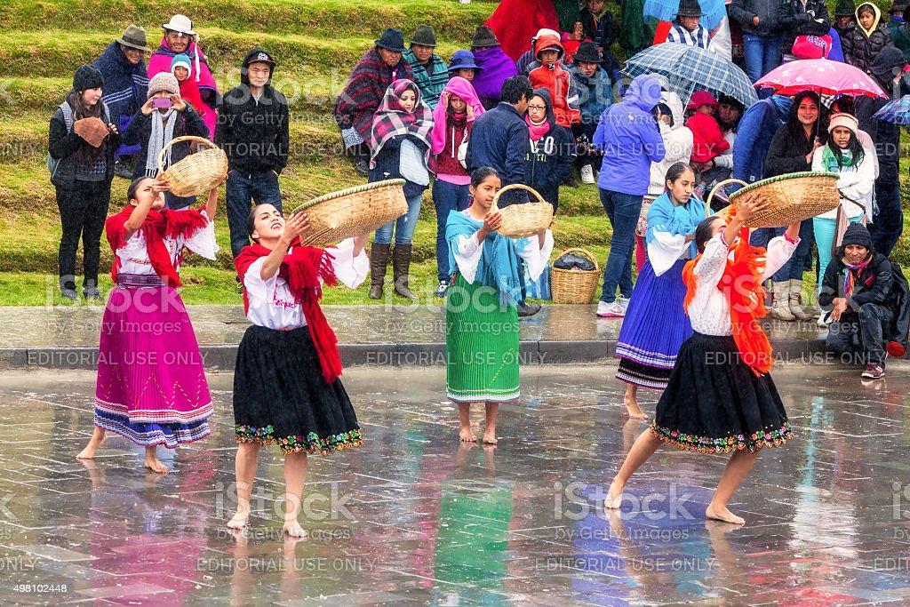 Unidentified Indigenous Celebrating New Year stock photo