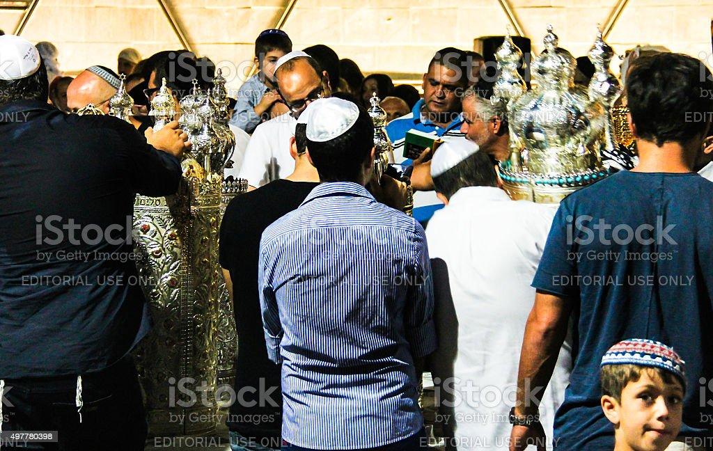 Unidentified jewish man praying on ceremony of Simhath Torah. stock photo