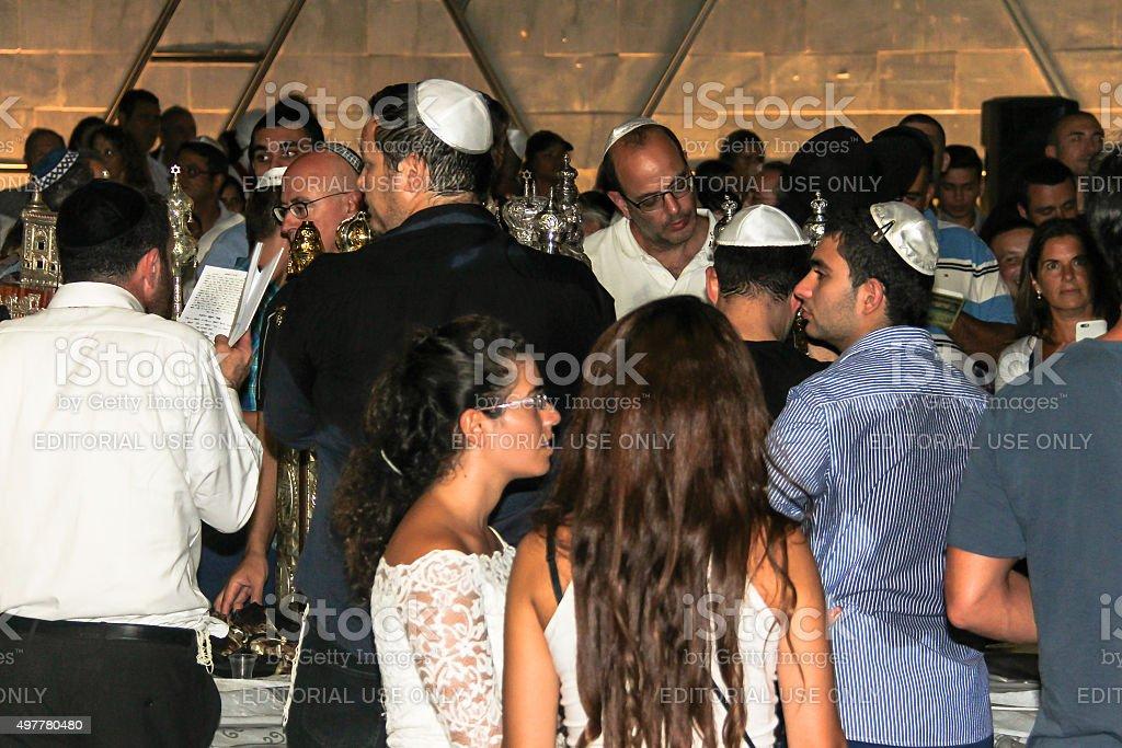 Unidentified jewish man praying on ceremony of Simhath Torah stock photo