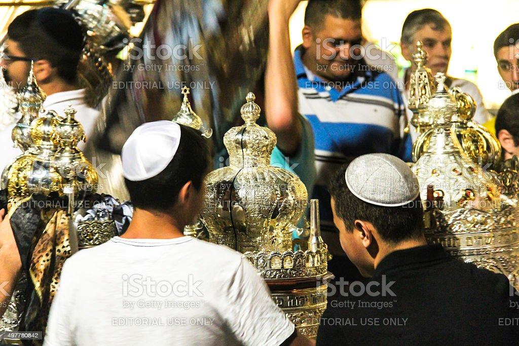 Unidentified jewish people on ceremony of Simhath Torah. Tel Aviv. stock photo