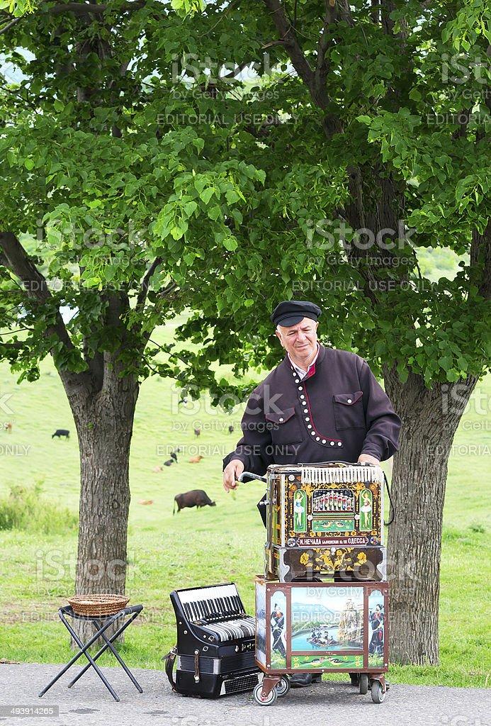 Unidentified musician plays on barrel organ stock photo