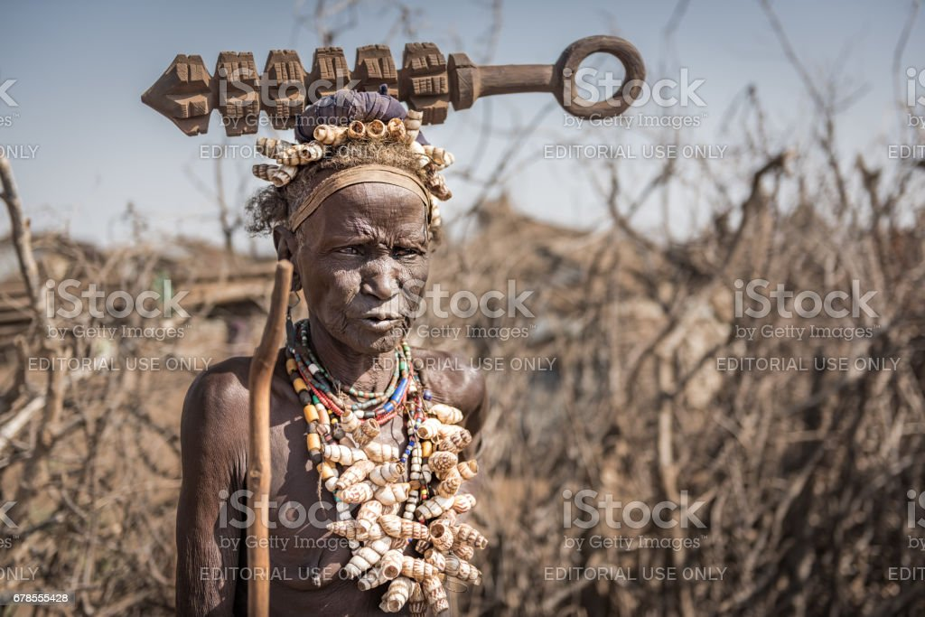 Unidentified old woman from Dassenach tribe, Omo Valley, Ethiopia stock photo