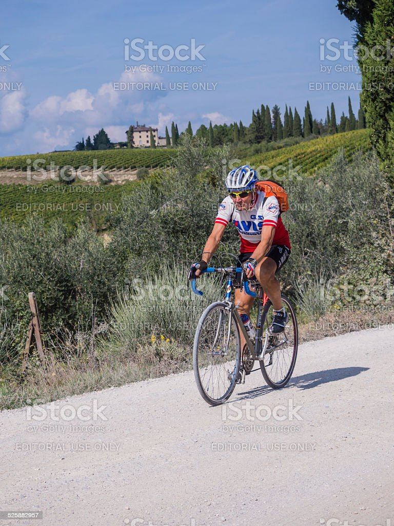 Unidentified partipant of L'Eroica, Italy stock photo