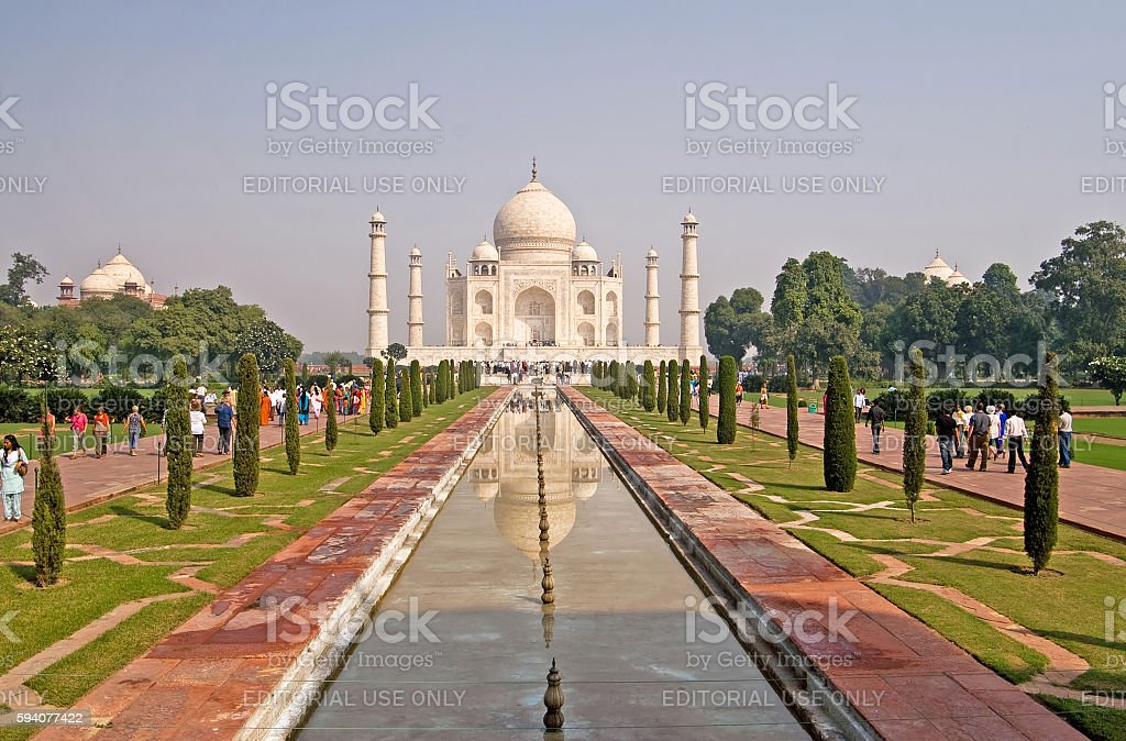 Unidentified people are visiting Taj Mahal in Agra, India stock photo