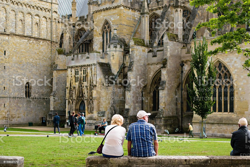Unidentified people at Exeter Cathedral stock photo