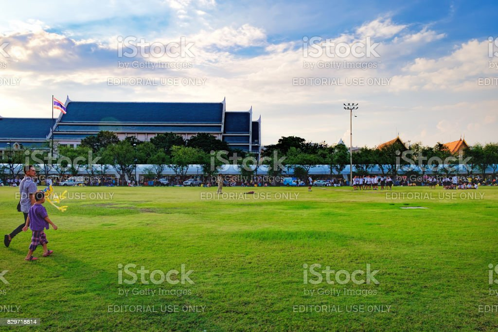 Unidentified people come to Sanam Luang for relax and playing kites, Thailand stock photo
