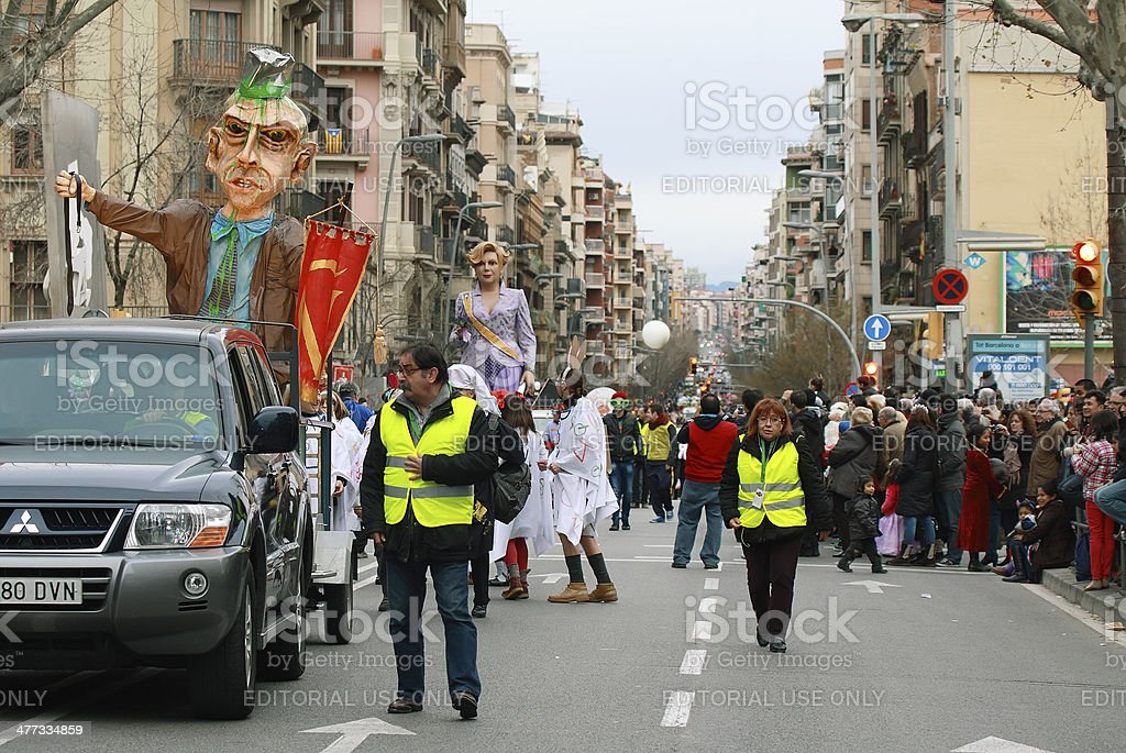 Unidentified people in the middle of Sants Street royalty-free stock photo