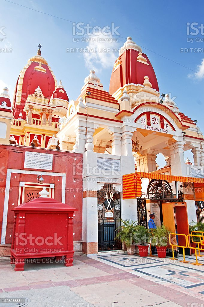 Unidentified people near Laxminarayan Temple in Delhi, India stock photo