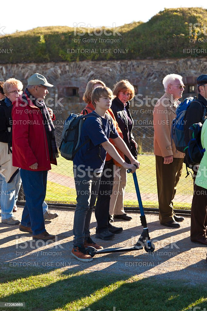 Unidentified people queuing up for the BUGA flower show stock photo