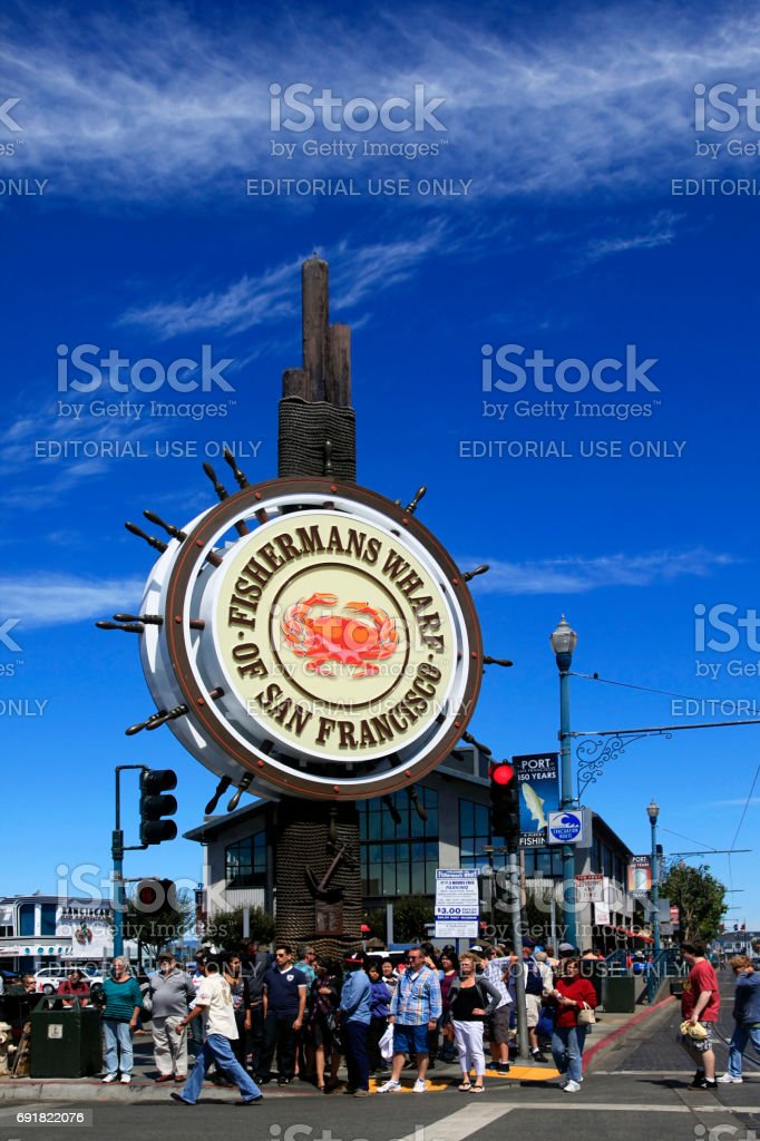 Unidentified people visit Fishermans Wharf stock photo