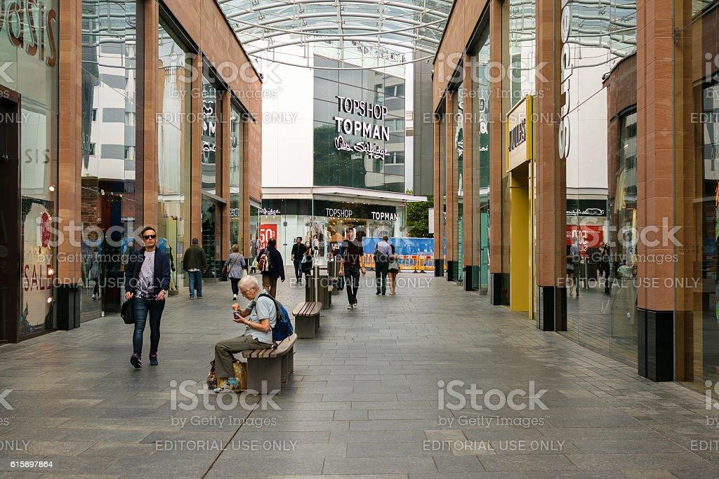 Unidentified people visit Princesshay shops stock photo