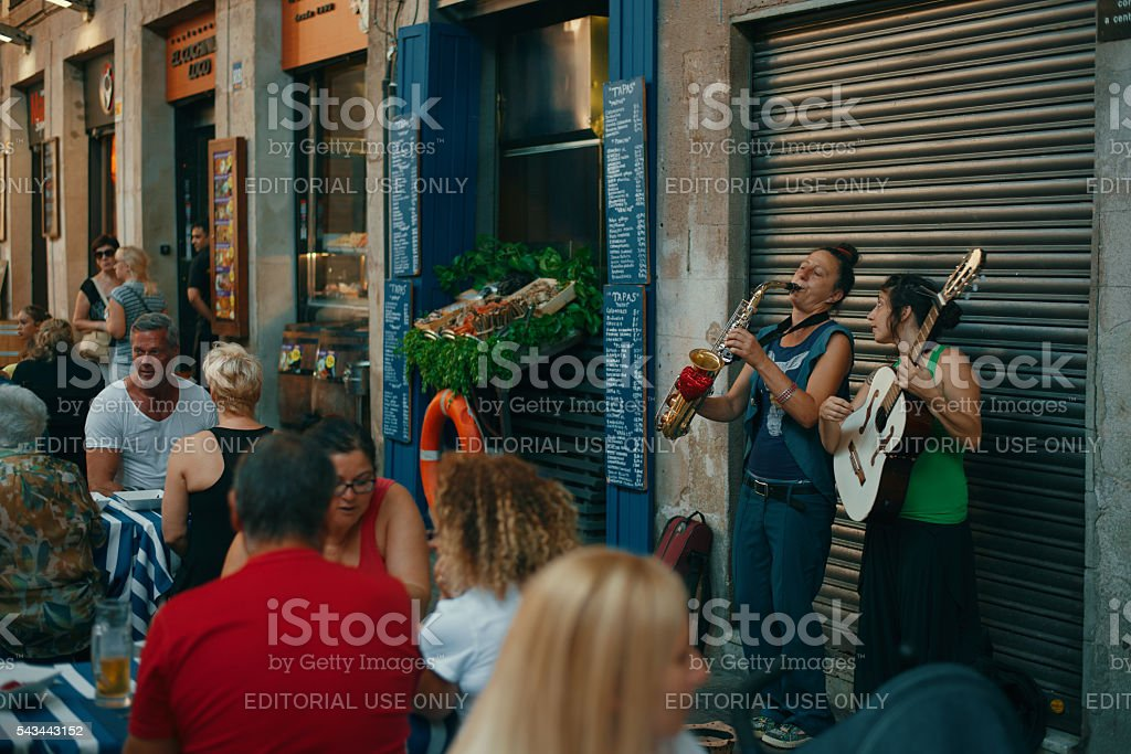 Unidentified performers giving show stock photo