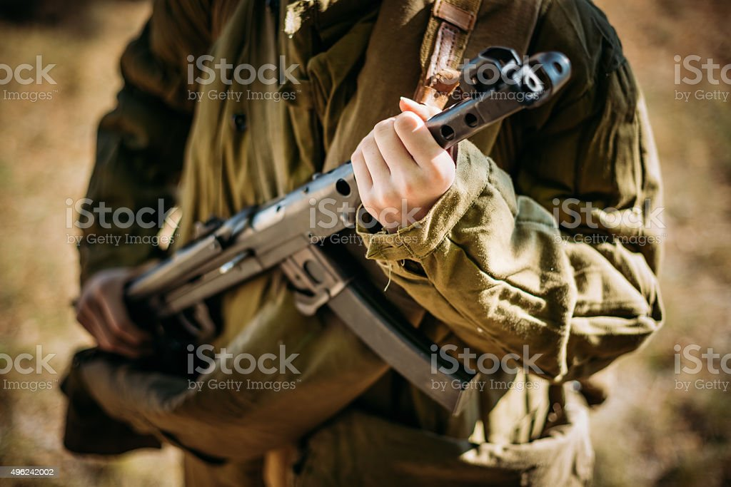 Unidentified reconstructor dressed as a Soviet military nurse wi stock photo