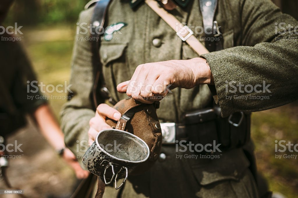 Unidentified re-enactor dressed as German soldier in World War II stock photo