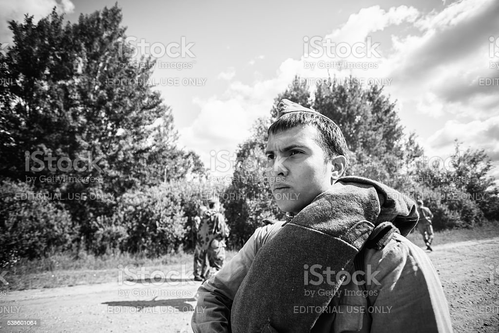 Unidentified re-enactors dressed as Soviet Russian soldiers during events dedicated stock photo