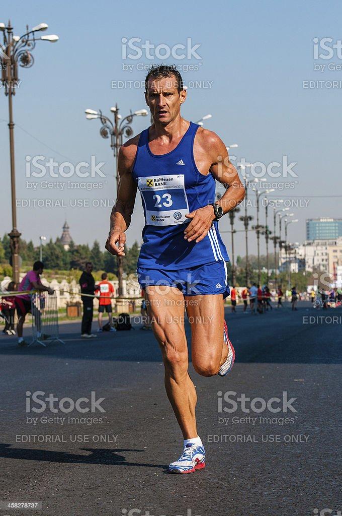 Unidentified runner competes at the Bucharest International Marathon 2012 royalty-free stock photo