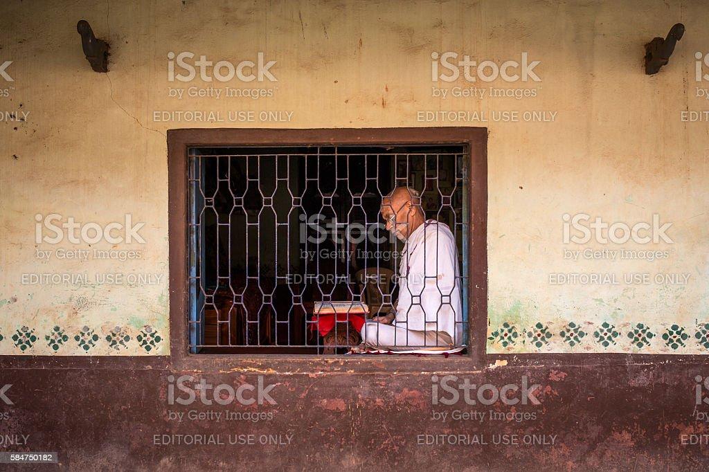 Unidentified temple brahmin in Gokarna, India stock photo