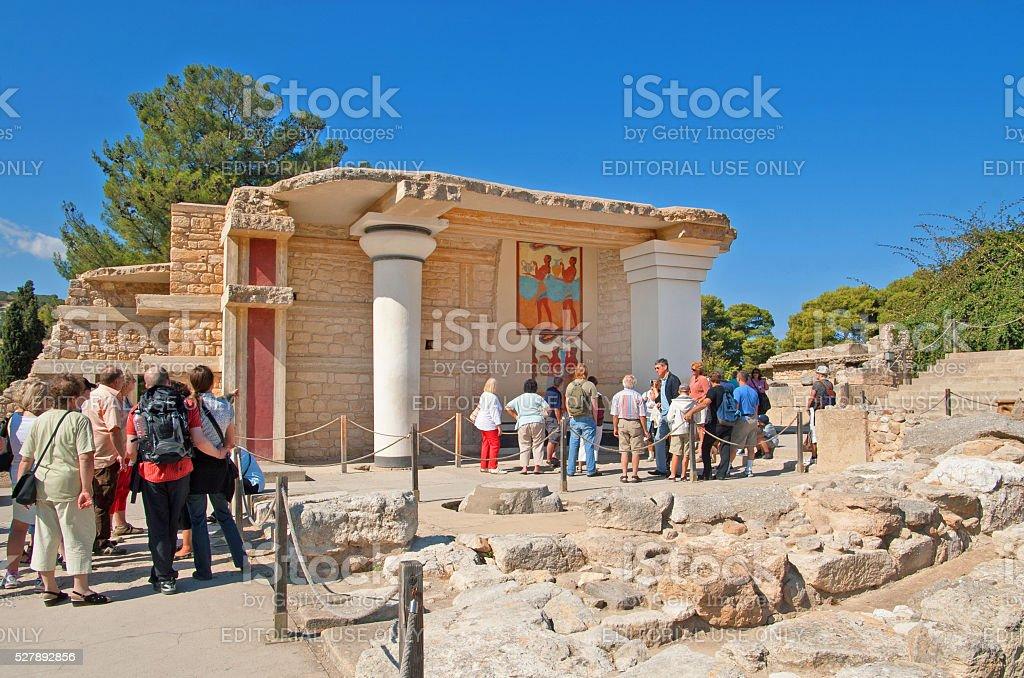 Unidentified tourists near South Propylaeon, Crete stock photo