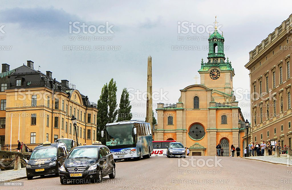 Unidentified tourists near Storkyrkan, Stockholm, Sweden stock photo