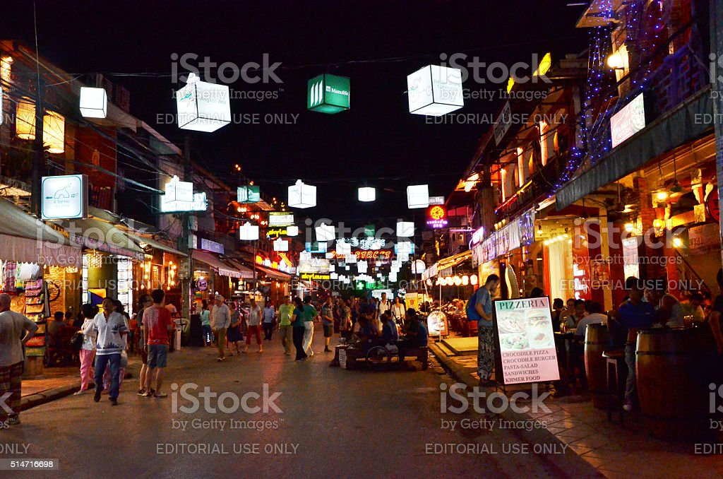Unidentified tourists shopping at the Pub street in Siem Reap stock photo