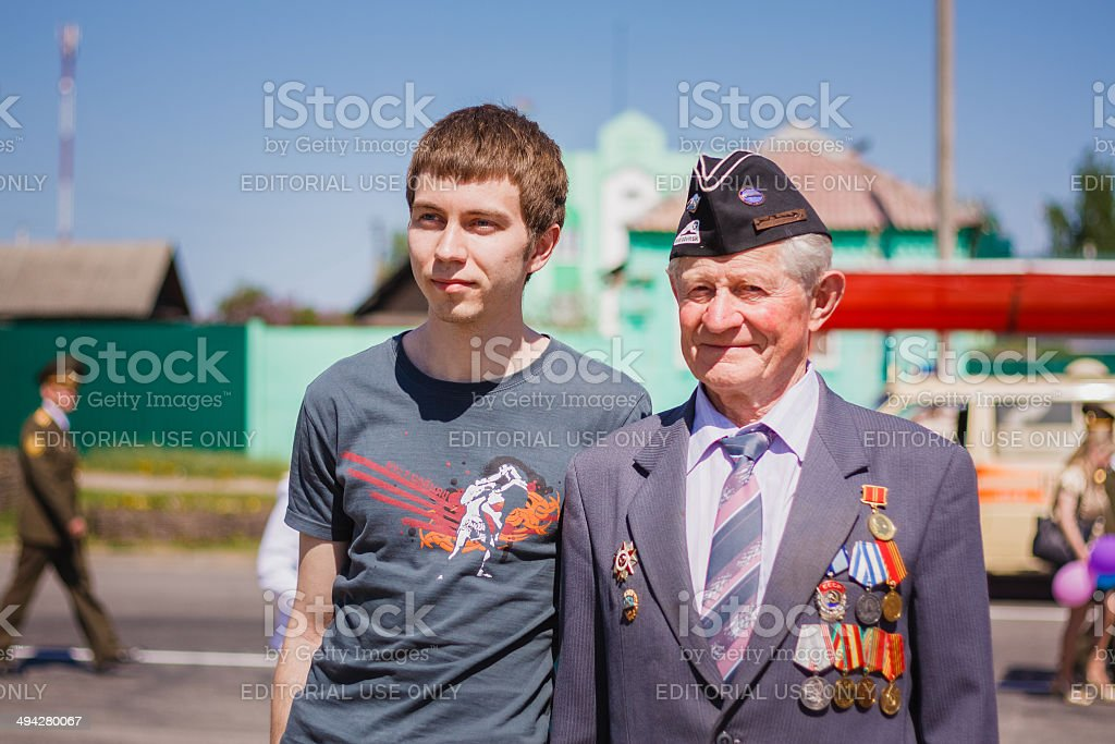 Unidentified veteran during the celebration of Victory Day stock photo