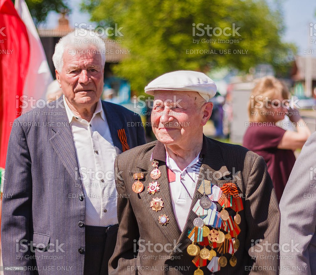 Unidentified veterans during the celebration of Victory Day stock photo