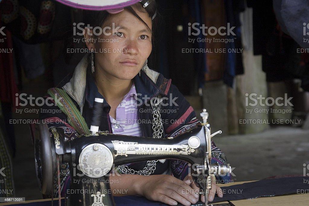 unidentified woman of Black Hmong ethnic minority royalty-free stock photo