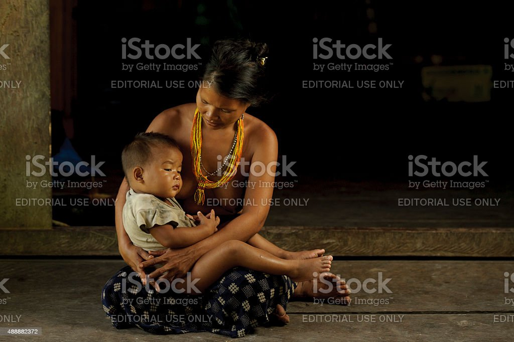 Unidentified women of Mentawai. stock photo