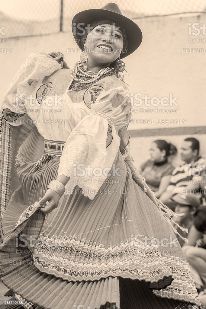 Unidentified Youth Indigenous Woman Dancing stock photo