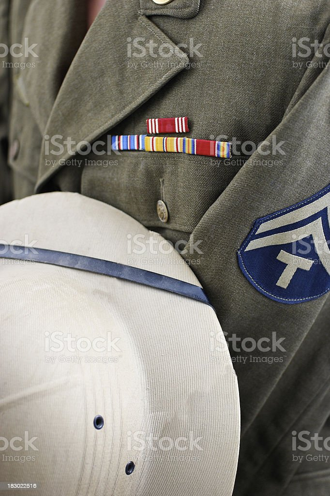 Uniform Detail from U.S. Army WWII royalty-free stock photo