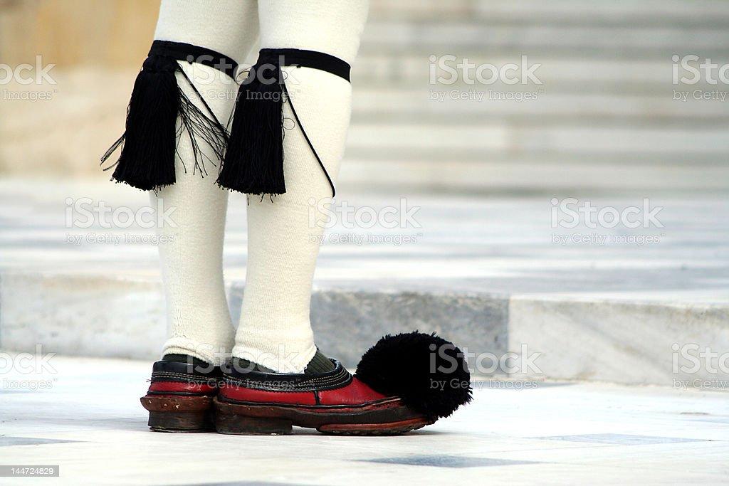 Uniform footwear of Evzone Guards royalty-free stock photo