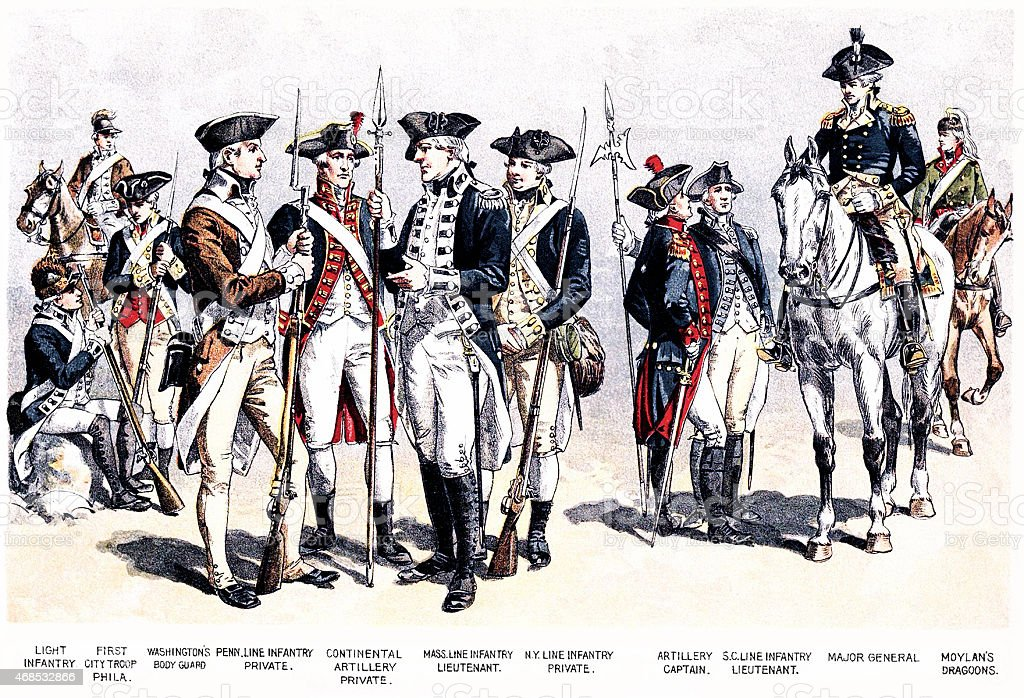 Uniforms in the American Revolutionary War stock photo