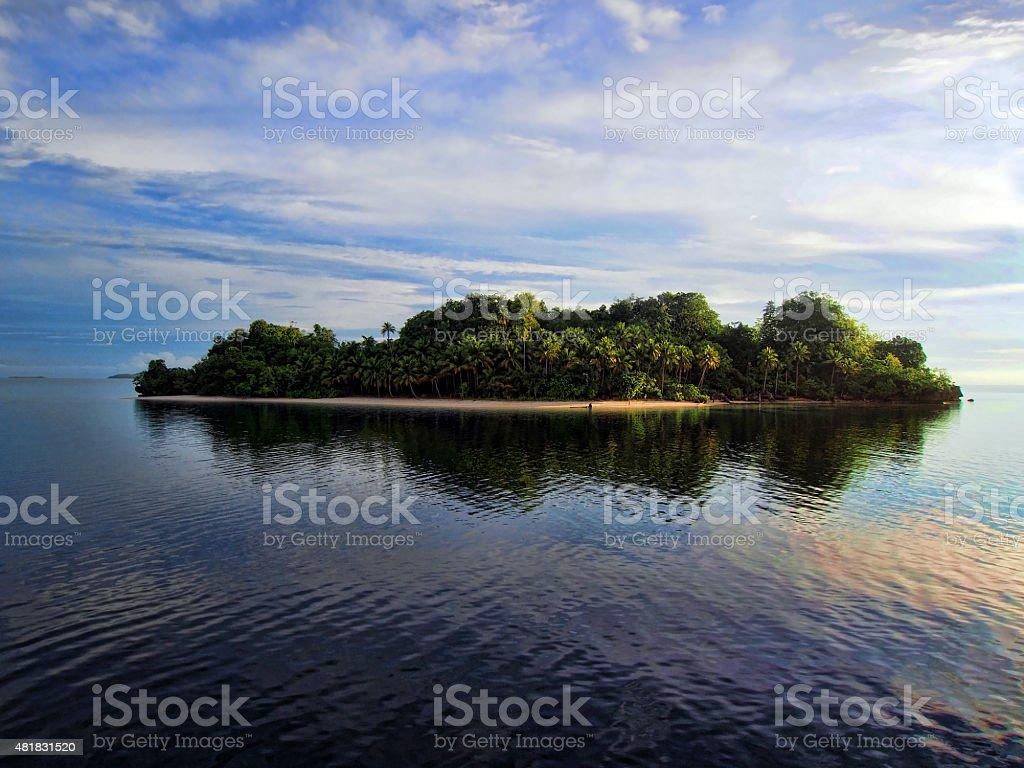 Uninhabited island in West Papua, Indonesia stock photo