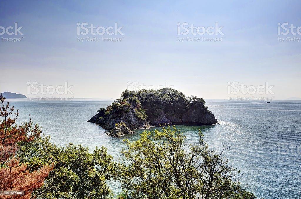 Uninhabited island visible from Sensuijima stock photo