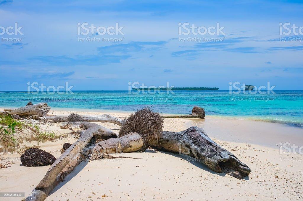 Uninhabited remote tropical islands stock photo
