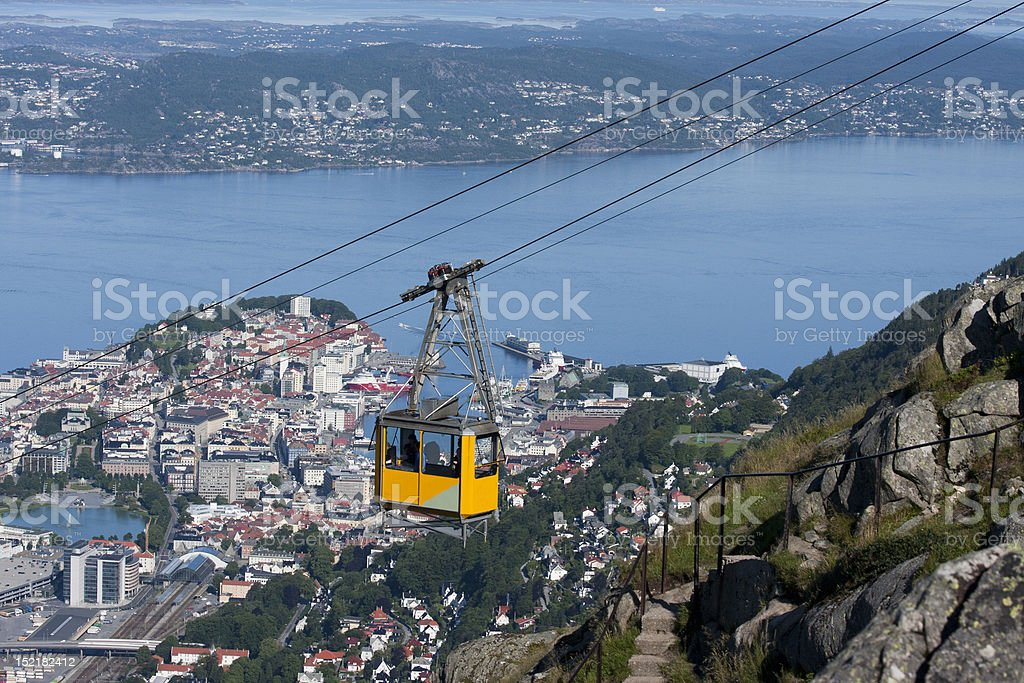 uninterrupted panoramic views of Bergen stock photo