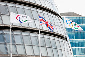 IPC, Union and Olympic flag near City hall in London