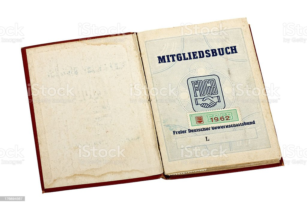 Union card of the former GDR stock photo