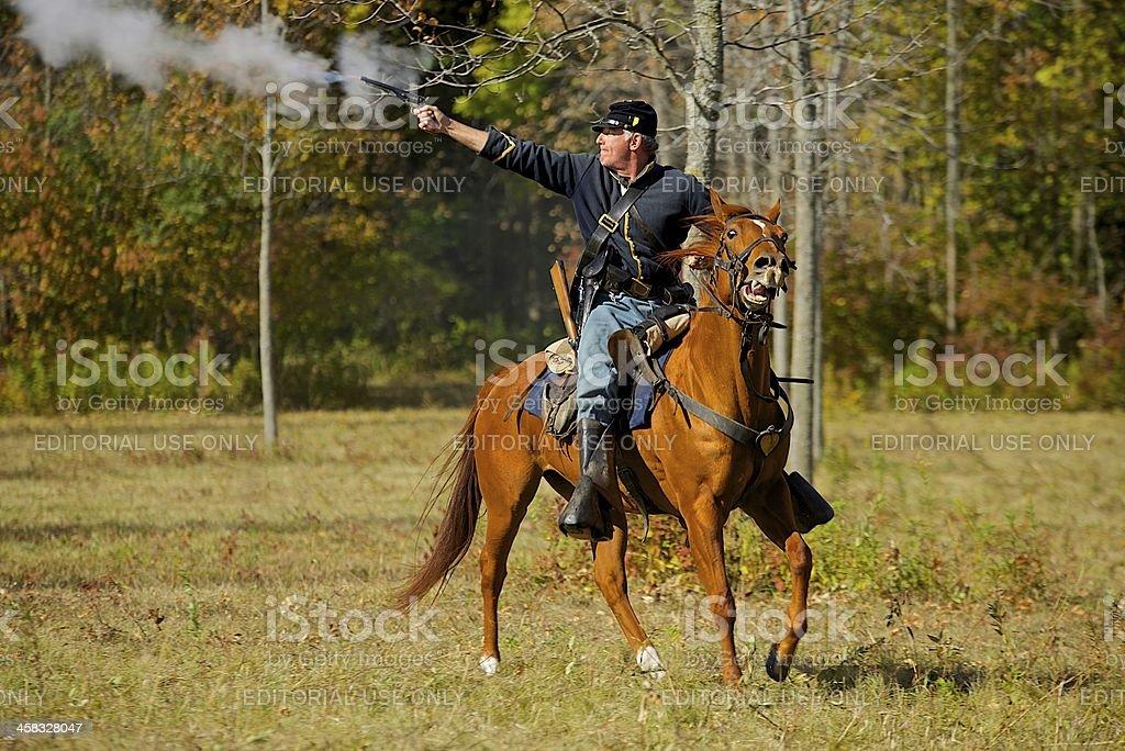 Union cavalry soldier reenactor royalty-free stock photo