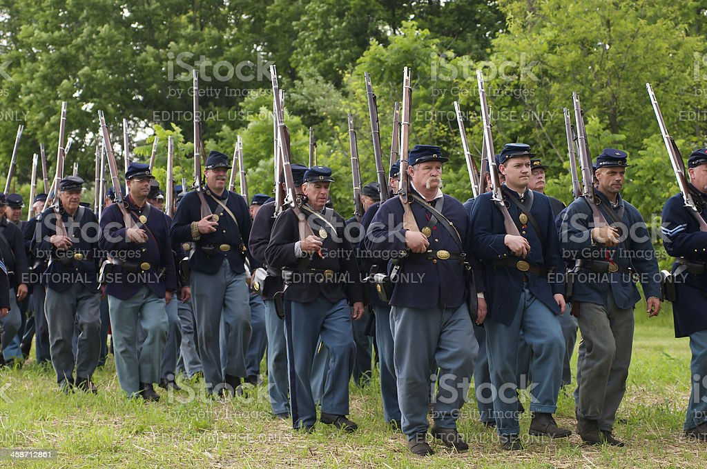Union Civil War Renactors March to the Battle stock photo