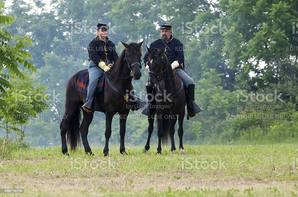 Union Civil War Renactors watch on horse back stock photo