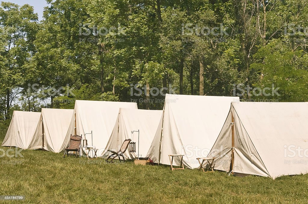 Union encampment while troops are away stock photo