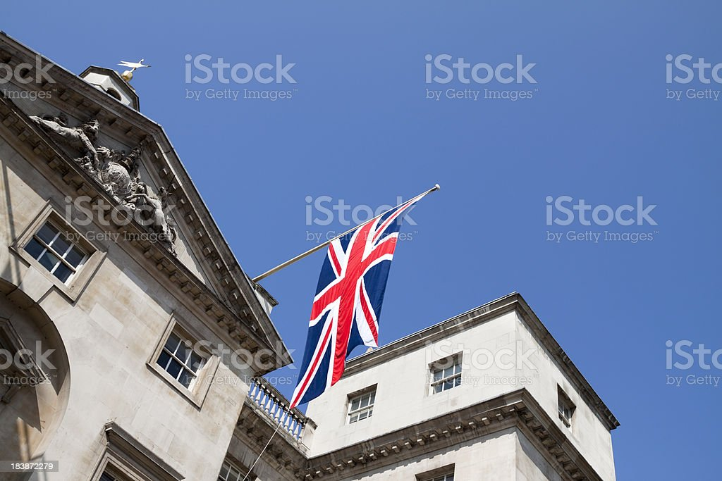 Union flag at Horse Guards Parade stock photo