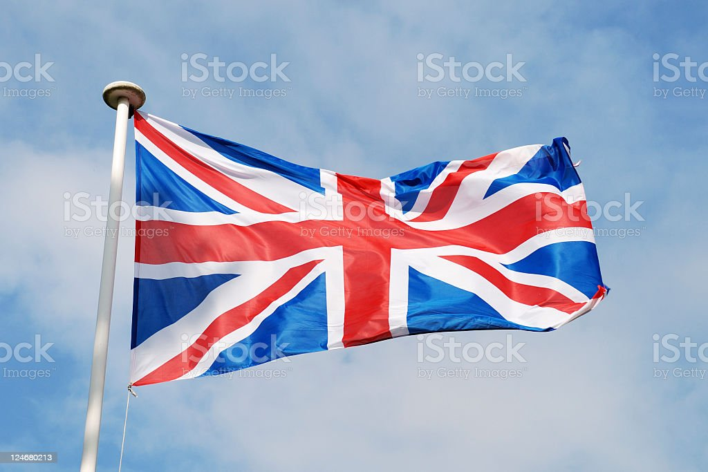 Union flag of United Kingdom in red white and blue stock photo