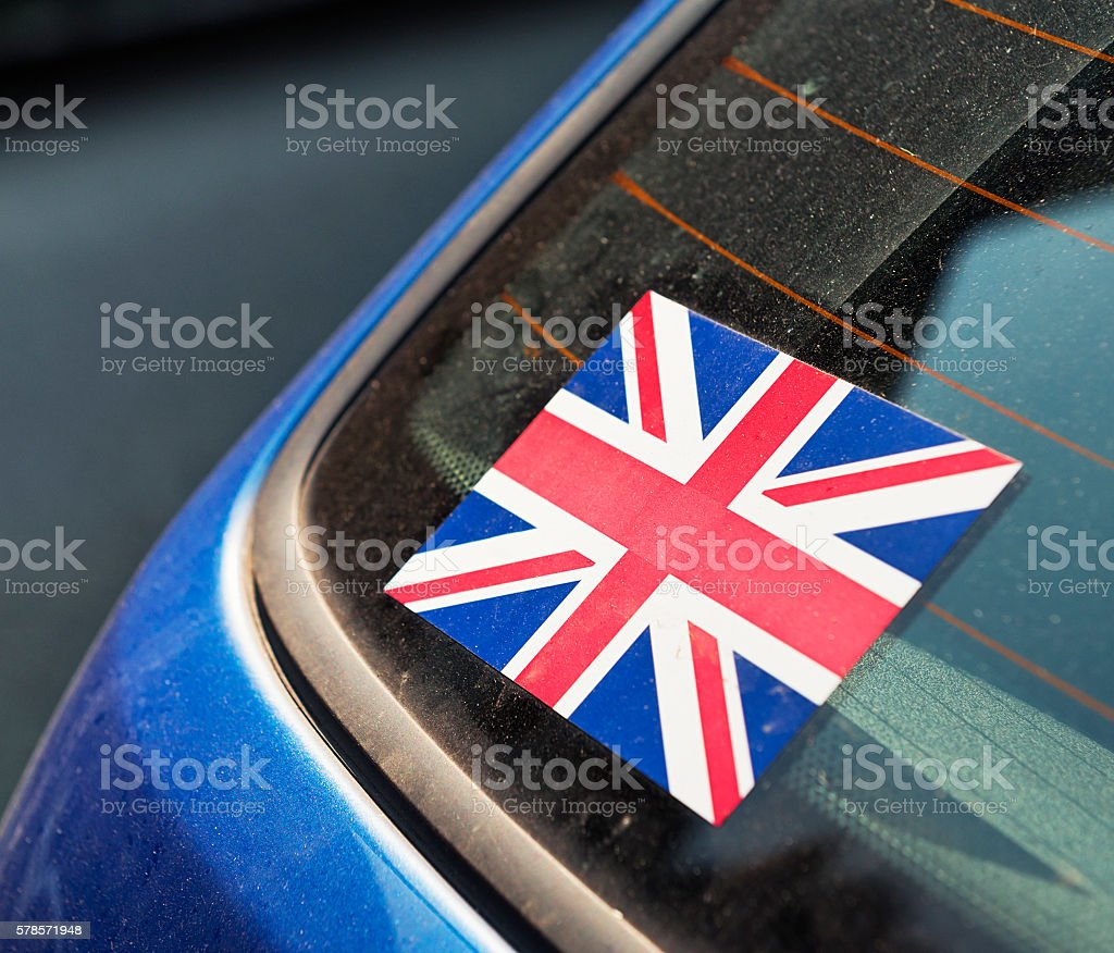 Union flag sticker on a car's rear windscreen stock photo
